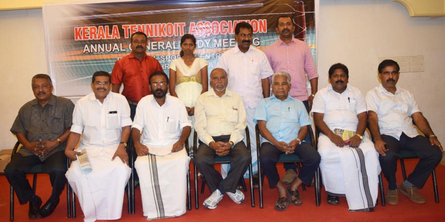 Newly Elected State Office Bearers<br>Newly Elected State Office Bearers with Shri.B S Nagaraj (CEO Tenniokoit Federation Of India) Shri.M M Abdul Rahiman (President Kerala State Olympic Association)